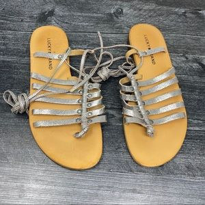 Lucky brand lace up silver sandals